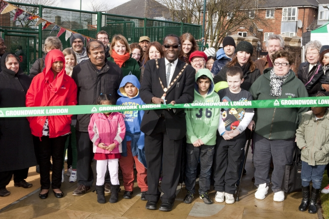 Deputy Mayor of Brent officially opens a new play area at Unity Close.
